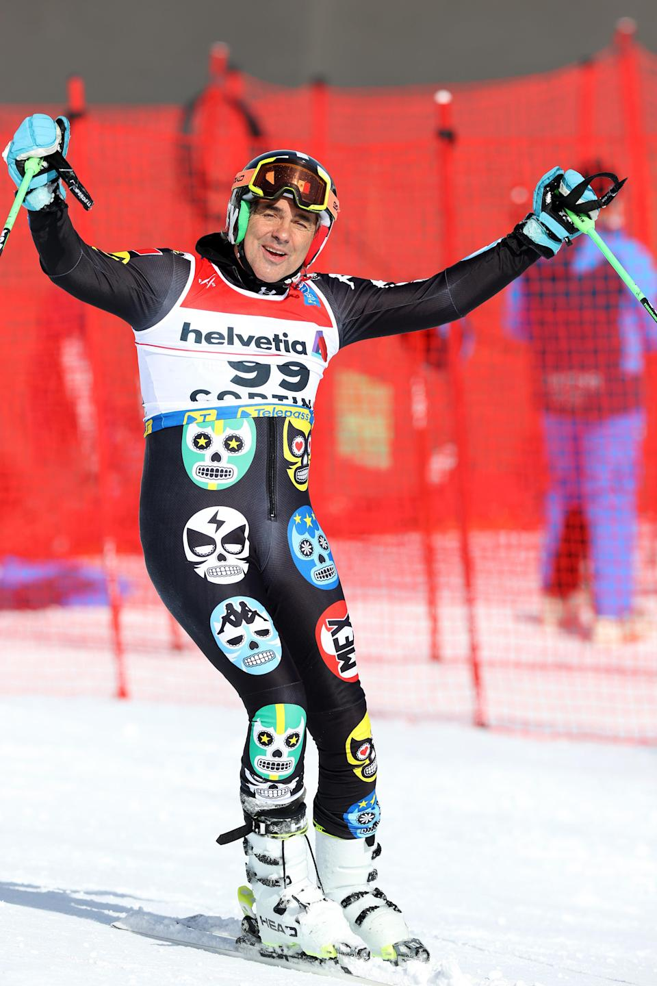 Hubertus von Hohenlohe at the 2018 Olympic games wearing skulls on outfit
