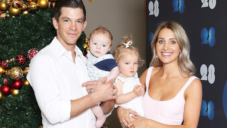 Tim Paine, pictured here with wife Bonnie and children Milla and Charlie in 2018.