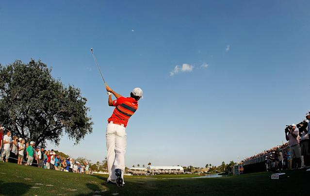 PALM BEACH GARDENS, FL - MARCH 03: Rory McIlroy of Northern Ireland hits his tee shot on the 17th hole during the third round of the Honda Classic at PGA National on March 3, 2012 in Palm Beach Gardens, Florida. (Photo by Mike Ehrmann/Getty Images)