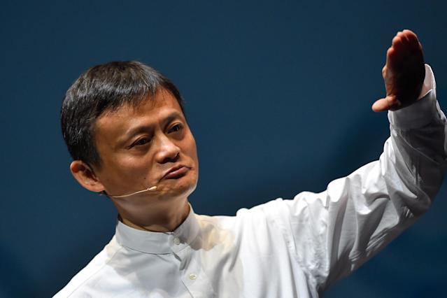 Jack Ma, then CEO of the Alibaba Group speaks during a news conference on 18 June 2015 in Chiba, Japan. (Koki Nagahama/Getty Images)