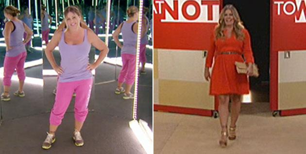 """The """"Baywatch"""" star before, L; and out of sweats and back into dating, R"""