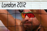 Jonathan Erdmann of Germany defends at the net during the Men's Beach Volleyball Round of 16 match between Brazil and Germany. (Getty Images)