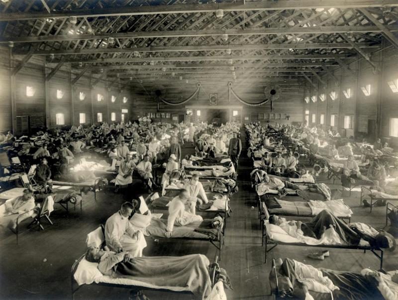 Soldiers are quarantined while recovering from the Spanish flu at Camp Funston in Kansas in 1918.