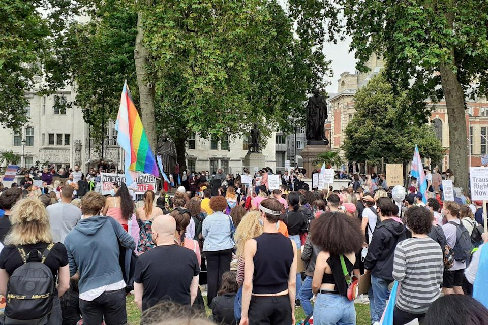 Trans rights supporters demonstrated in Parliament Square on July 4 (Rebecca Nicole Williams)