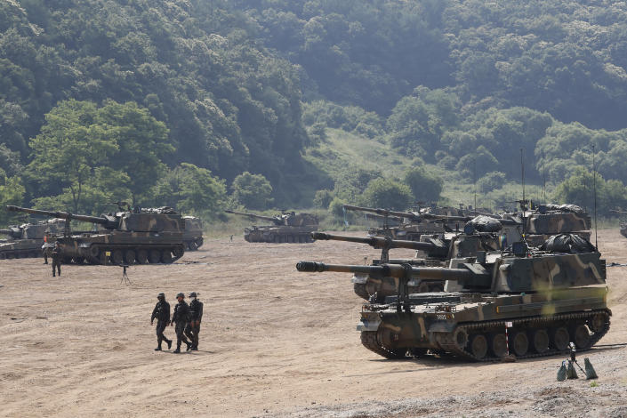 South Korean army K-9 self-propelled howitzers take positions during the annual exercise in Paju, South Korea, near the border with North Korea, Tuesday, June 23, 2020. A South Korean activist said Tuesday hundreds of thousands of leaflets had been launched by balloon across the border with North Korea overnight, after the North repeatedly warned it would retaliate against such actions. (AP Photo/Ahn Young-joon)