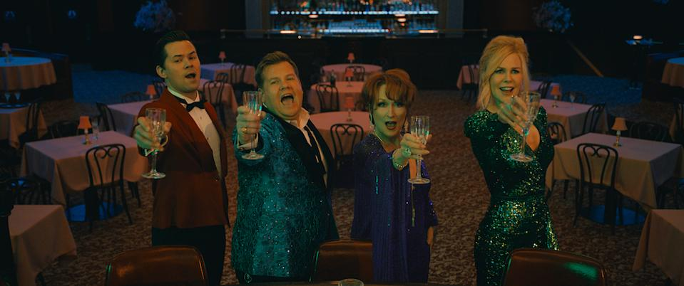 Trent Oliver (Andrew Rannells), Barry Glickman (James Corden), Dee Dee Allen (Meryl Streep), and Angie Dickinson (Nicole Kidman) in The Prom. (PHOTO: Netflix)