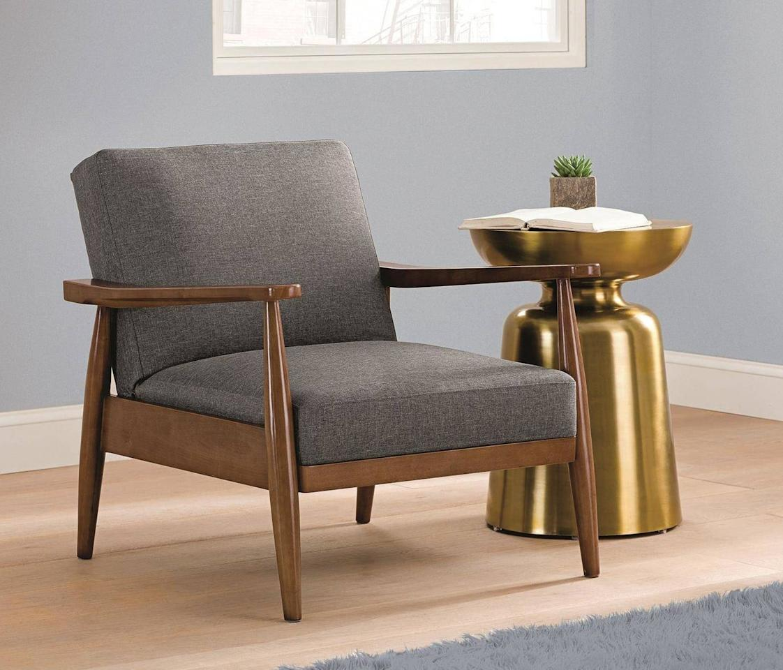 "<p>This <a href=""https://www.popsugar.com/buy/Better-Homes-amp-Gardens-Flynn-Mid-Century-Chair-Wood-481900?p_name=Better%20Homes%20%26amp%3B%20Gardens%20Flynn%20Mid-Century%20Chair%20Wood&retailer=walmart.com&pid=481900&price=169&evar1=casa%3Aus&evar9=45950398&evar98=https%3A%2F%2Fwww.popsugar.com%2Fphoto-gallery%2F45950398%2Fimage%2F45950532%2FBetter-Homes-Gardens-Flynn-Mid-Century-Chair-Wood&list1=shopping%2Chome%20decor%2Cfurniture%2Cwalmart%2Chome%20shopping&prop13=api&pdata=1"" rel=""nofollow"" data-shoppable-link=""1"" target=""_blank"" class=""ga-track"" data-ga-category=""Related"" data-ga-label=""https://www.walmart.com/ip/Better-Homes-Gardens-Flynn-Mid-Century-Chair-Wood-with-Linen-Upholstery/53735832?athcpid=53735832&amp;athpgid=athenaItemPage&amp;athcgid=null&amp;athznid=PWBAB&amp;athieid=v0&amp;athstid=CS020&amp;athguid=d2252ae3-f4a-16cac045980393&amp;athena=true"" data-ga-action=""In-Line Links"">Better Homes &amp; Gardens Flynn Mid-Century Chair Wood</a> ($169) looks triple the price.</p>"