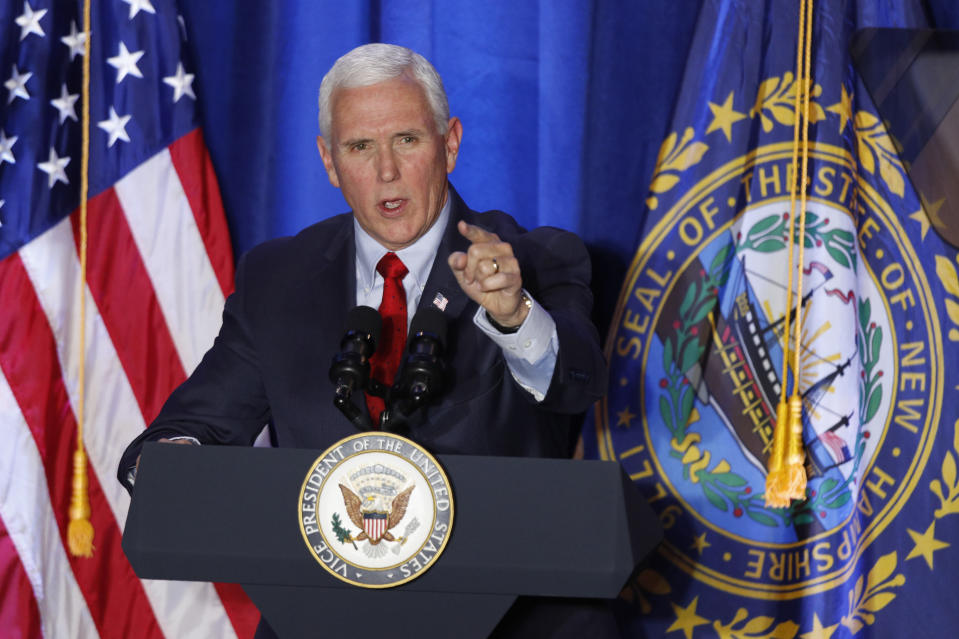 Vice President Mike Pence speaks at a Cops for Trump campaign rally, Monday, Feb. 10, 2020, in Portsmouth, N.H. (AP Photo/Robert F. Bukaty)