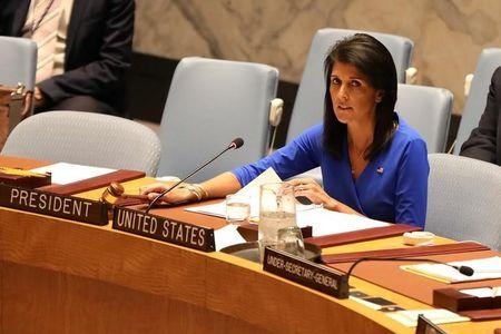 U.S. Ambassador to the United Nations Nikki Haley gavels a United Nations Security Council at the United Nations Headquarters in New York City