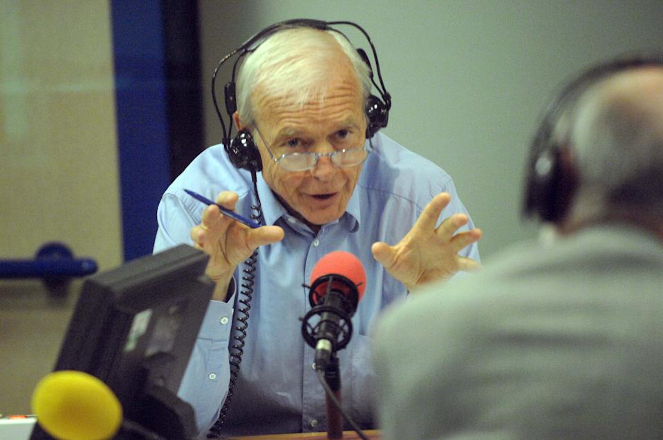 John Humphrys, in the radio studio, during a broadcast of Today, the flagship programme on BBC Radio Four. (Photo by Jeff Overs/BBC News & Current Affairs via Getty Images)