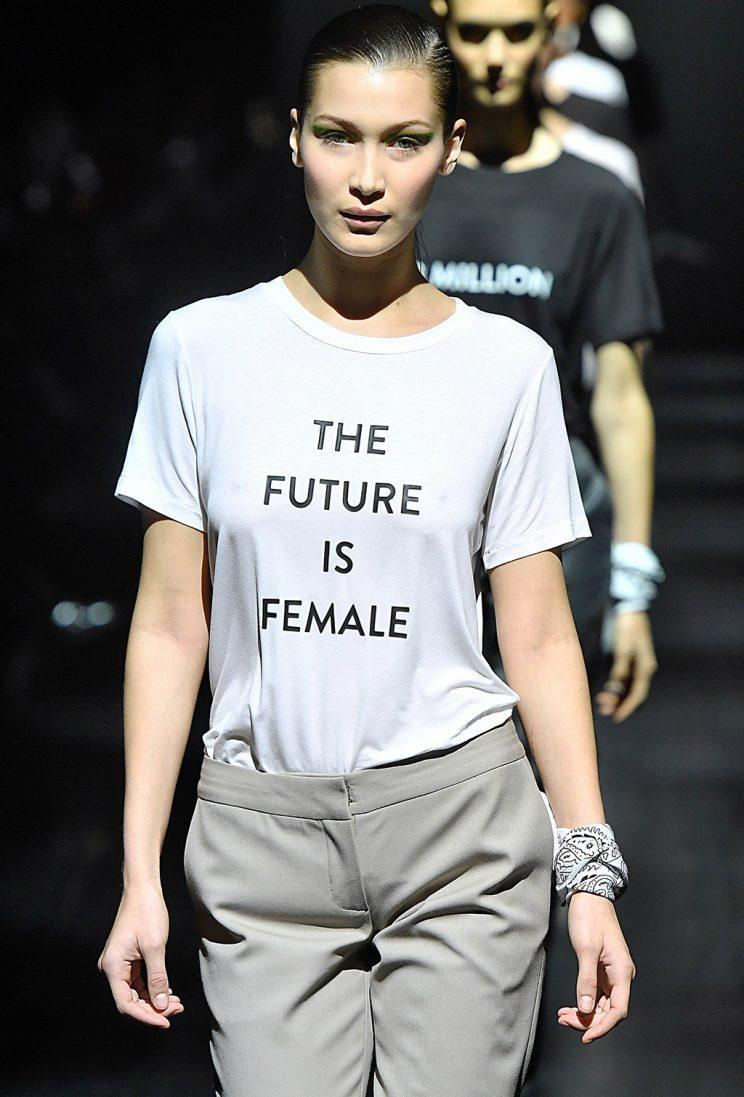 Models walking in the finale of the Prabal Gurung Fall/Winter 2017 collection wore T-shirts with feminist messages. (Photo by Marcelo Soubhia/MCV Photo for the Washington Post via Getty Images)