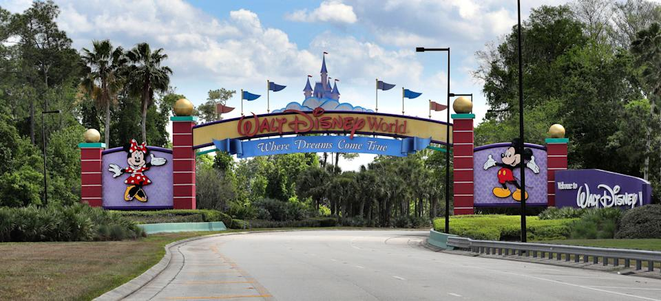 An empty entrance to Walt Disney World on March 24, 2020. The NBA is looking at using the ESPN Wide World of Sports Complex at Disney World as a possible venue to complete the season if conditions permit during the coronavirus pandemic. The Miami Heat are adjusting to the new normal, as unique as these times have been, during the coronavirus pandemic. (Joe Burbank/Orlando Sentinel/Tribune News Service via Getty Images)