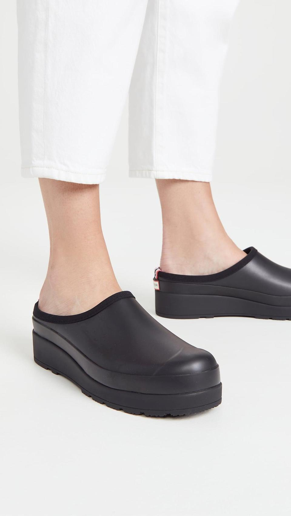 <p>If you're a fan of the brand's rain boots, you also need the <span>Hunter Boots Original Play Clogs</span> ($75). Perfect for running quick errands or just to look chic in the rain.</p>
