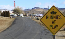 "FILE - In this Feb. 27, 2019, file photo, the Moonlite Bunny Ranch brothel is seen in Lyon County east of Carson City, Nev. For nearly a year, Nevada's legal brothels have been shuttered due to the coronavirus, leaving sex workers trying to pay their bills turning to alternatives like offering ""virtual dates"" online or non-sexual escort services. (AP Photo/Ryan Tarinelli, File)"