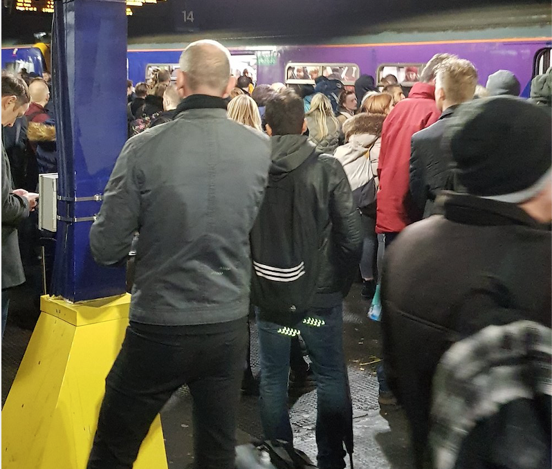 Passengers suffered delays across Manchester on Thursday night, with staff at one station staging a walkout after one member of staff was shouted at (Picture: Twitter/Paul Metcalfe)