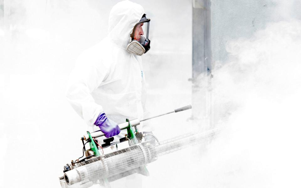 A municipal employee takes part in a fumigation operation against Aedes aegypti mosquito - the mosquito that can spread dengue fever - in San Jose - AFP