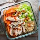"""<p>Get the flavors of spicy Buffalo chicken wings, without frying, in this nutritious couscous bowl loaded with protein and crisp veggies. <a href=""""https://www.eatingwell.com/recipe/263359/buffalo-chicken-grain-bowl/"""" rel=""""nofollow noopener"""" target=""""_blank"""" data-ylk=""""slk:View Recipe"""" class=""""link rapid-noclick-resp"""">View Recipe</a></p>"""