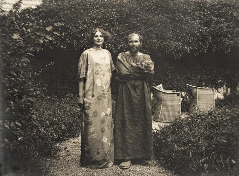 Artist Gustav Klimt, right, with his partner, Emilie Flöge, circa 1910.