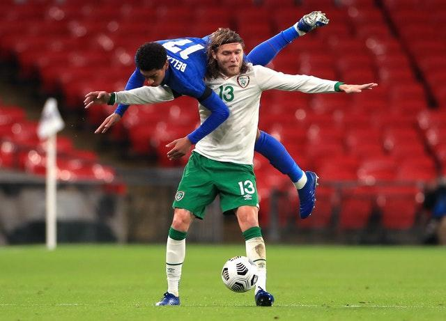 England debutant Jude Bellingham and Republic of Ireland midfielder Jeff Hendrick battle for the ball during November's international friendly at Wembley. Borussia Dortmund player Bellingham became the the third youngest player to represent England after coming on as a second-half substitute at the age of 17 years and 137 days. Goals from Harry Maguire, Jadon Sancho and Dominic Calvert-Lewin gave Gareth Southgate's men a 3-0 win