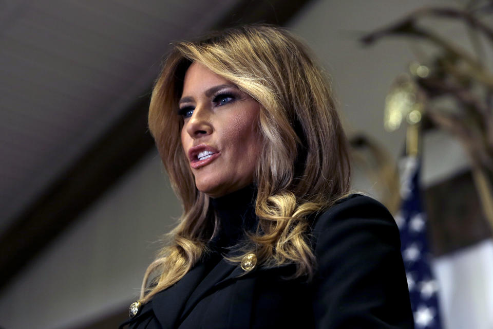 First lady Melania Trump speaks at a campaign rally Saturday, Oct. 31, 2020 in Wapwallopen, Pa (AP Photo/Jacqueline Larma)