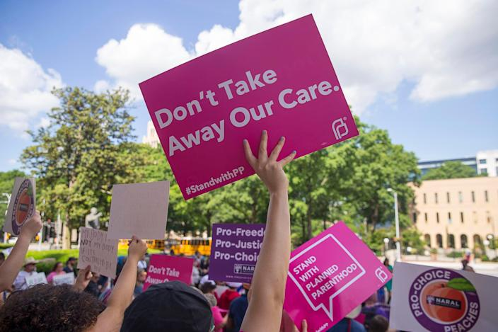 Protesters rally outside of the Georgia State Capitol following the signing of HB 481, in Atlanta, Tuesday, May 7, 2019. Georgia Gov. Brian Kemp signed legislation on Tuesday banning abortions once a fetal heartbeat can be detected. (Photo: Alyssa Pointer/Atlanta Journal-Constitution via AP)