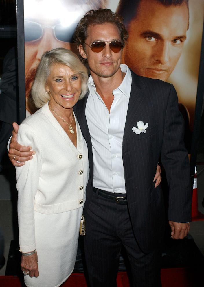 """Kay McConaughey and Matthew McConaughey during """"Two for the Money"""" World Premiere Co-Presented By Bodog.com - Red Carpet at Samuel Goldwyn Theater in Los Angeles, California, United States. (Photo by Gregg DeGuire/WireImage)"""