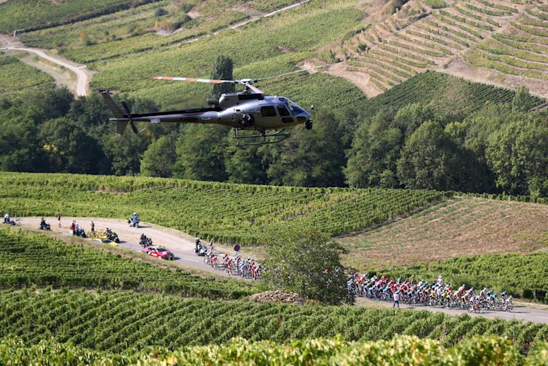CHAMPAGNOLE FRANCE SEPTEMBER 18 Peloton Voiteur 266m Vineyards Helicopter Landscape during 107th Tour de France 2020 Stage 19 a 1665km stage from Bourg en Bresse to Champagnole 547m TDF2020 LeTour on September 18 2020 in Champagnole France Photo by Michael SteeleGetty Images