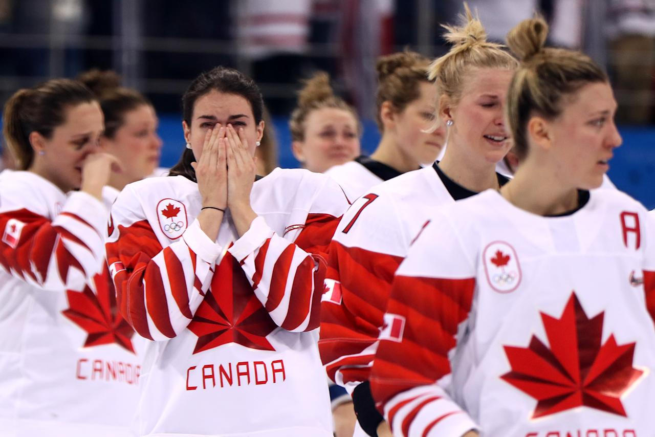 <p>Players from Team Canada react after being defeated by Team United States 3-2 in the overtime penalty-shot shootout during the Women's Gold Medal Game on day thirteen of the PyeongChang 2018 Winter Olympic Games at Gangneung Hockey Centre on February 22, 2018 in Gangneung, South Korea. (Photo by Jamie Squire/Getty Images) </p>
