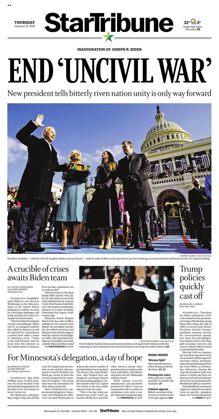January 21, 2021 front page of the Star Tribune
