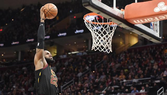 Apr 5, 2018; Cleveland, OH, USA; Cleveland Cavaliers forward LeBron James (23) slam dunks during the second half against the Washington Wizards at Quicken Loans Arena. Mandatory Credit: Ken Blaze-USA TODAY Sports TPX IMAGES OF THE DAY