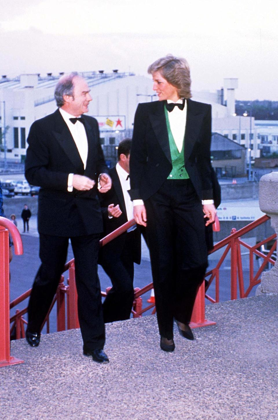Princess Diana in a tuxedo at Wembley Stadium in 1988. (Photo: Shutterstock)