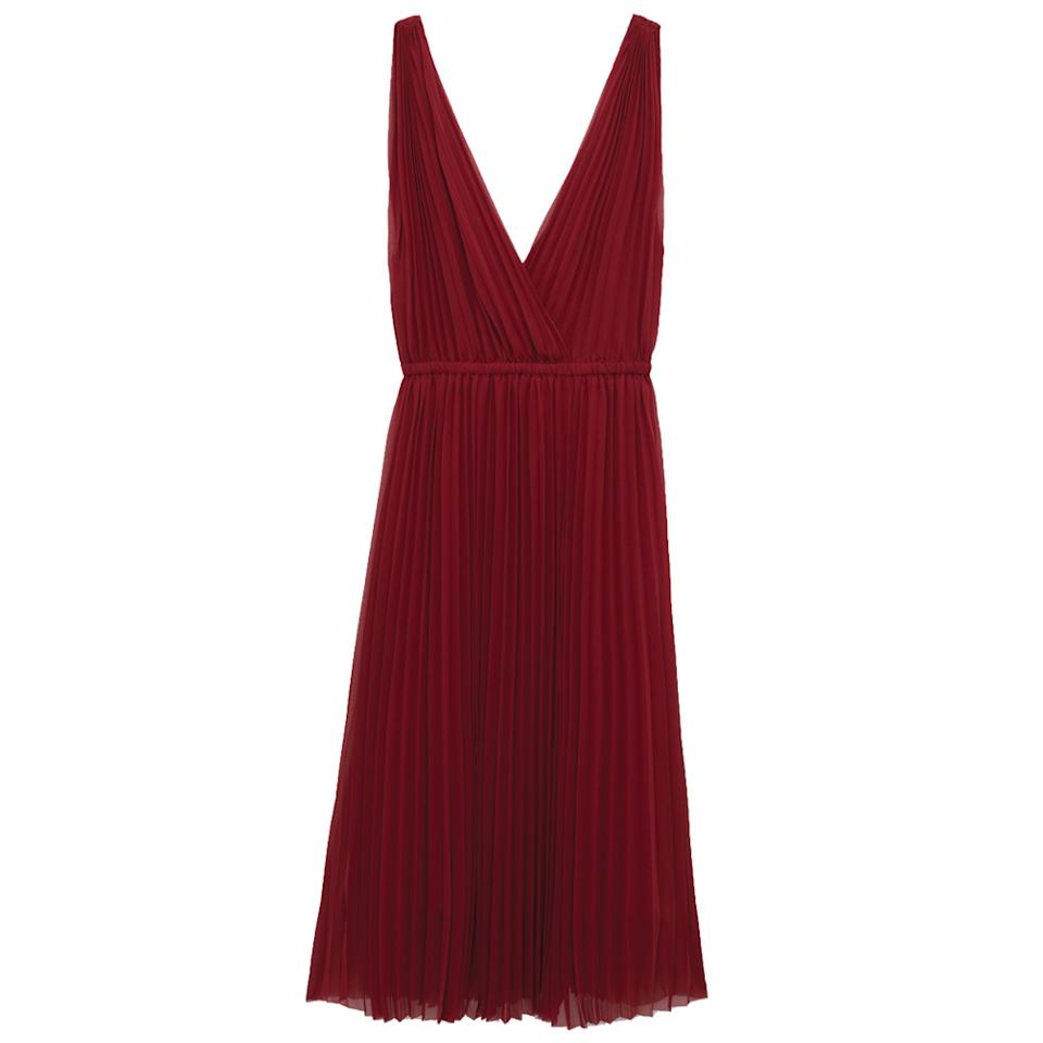 """<p>Yes to pretty pleats in festive red.</p><p>Buy it <a rel=""""nofollow"""" href=""""http://us.aritzia.com/product/karel-dress/64552.html"""">here</a> for $175.</p>"""