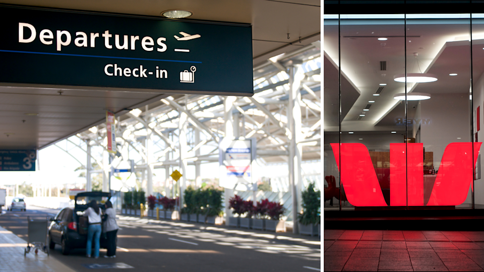 The departures lounge at Sydney airport and the Westpac logo.
