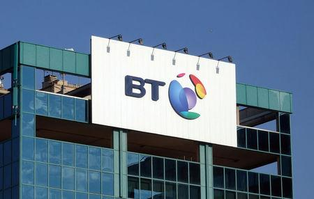 FILE PHOTO: The logo of BT is seen outside the headquarters in Milan