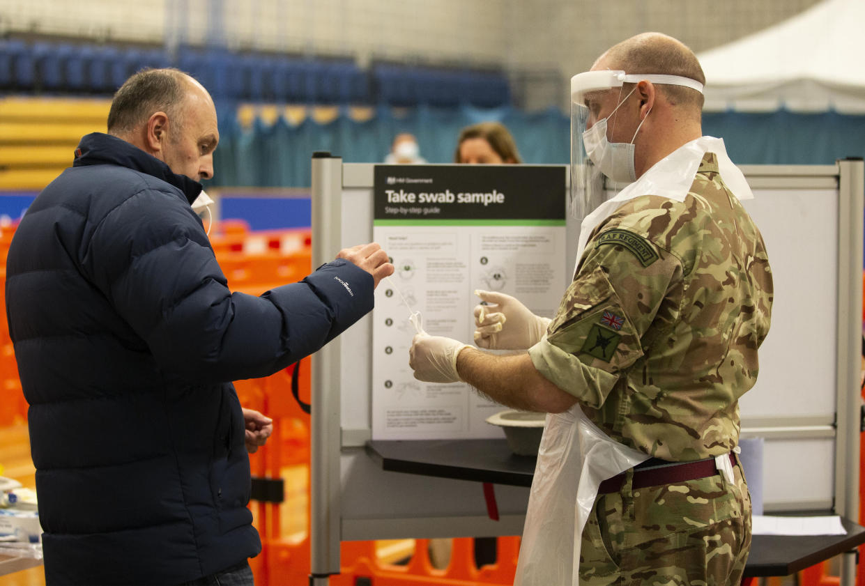 Royal Air Force personnel carrying out coronavirus testing