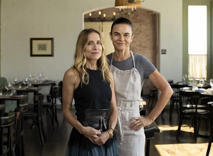 BRENTWOD, CA - JULY 20: Caroline Styne, left, and Suzanne Goin are owners of A.O.C. in Brentwood. Photographed in A.O.C. on Tuesday, July 20, 2021 in Brentwod, CA. (Myung J. Chun / Los Angeles Times)