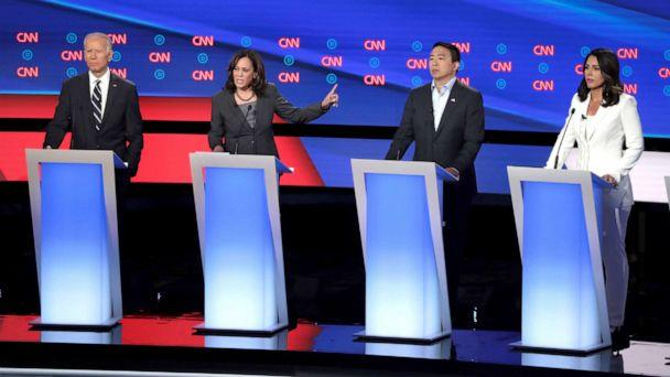 PHOTO:Democratic presidential candidate Sen. Kamala Harris (D-CA)speaks during the Democratic Presidential Debate, July 31, 2019, in Detroit. (Scott Olson/Getty Images)