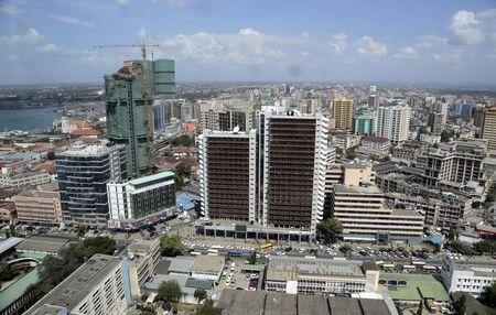 A general picture shows the skyline of Tanzania's port city of Dar es Salaam