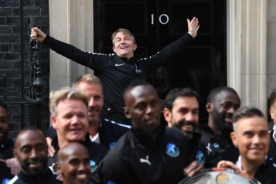 Bradley Walsh outside the door of 10 Downing Street, London, ahead of a visit to promote the Soccer Aid for Unicef charity football match, which takes place on Sunday June 10 at Old Trafford. (Photo by Victoria Jones/PA Images via Getty Images)
