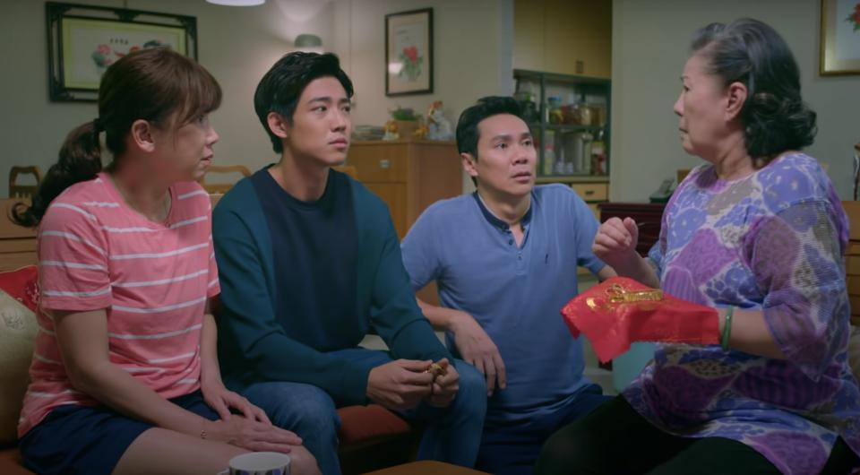(From left to right) Actors Kym Ng, Benjamin Tan, Brandon Wong and Jin Yin Ji in Channel 8 drama My Guardian Angels by Singapore media company and broadcaster Mediacorp.