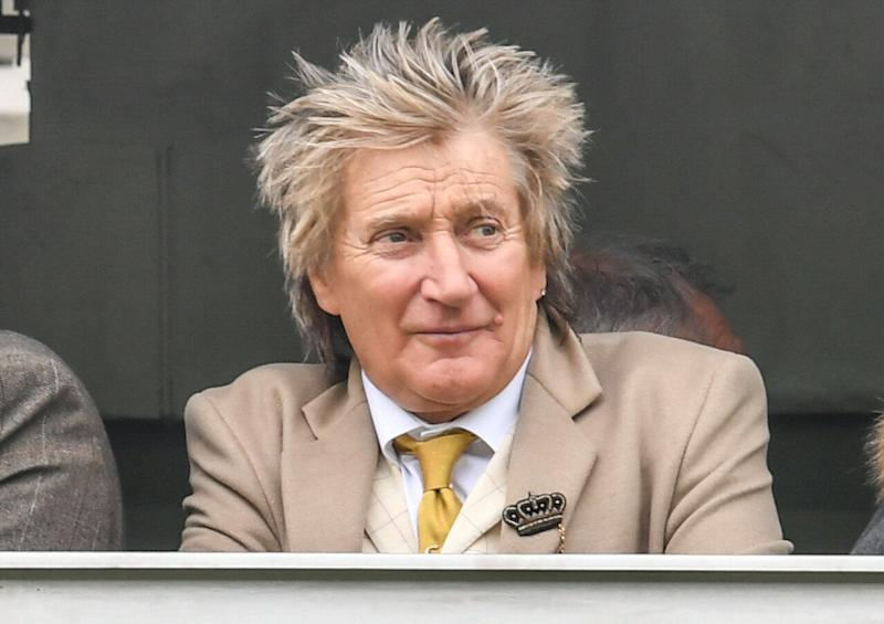 Rod Stewart at ST Patrick's Thursday at Cheltenham Racecourse for The Festival 2019. (Photo by MelMedia/GC Images)