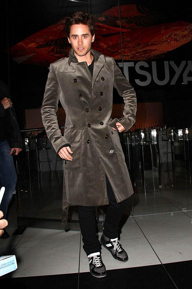 "Jared Leto stopped by Katsuya on Hollywood Boulevard after his band, 30 Seconds to Mars, showed its violent video for the song ""Hurricane"" that's been banned from many TV stations at the nearby Montalban Theatre on Monday. The rock star looked the part by donning a weird velvet coat for the occasion. Greg Tidwell/<a href=""http://www.pacificcoastnews.com/"" target=""new"">PacificCoastNews.com</a> - February 21, 2011"