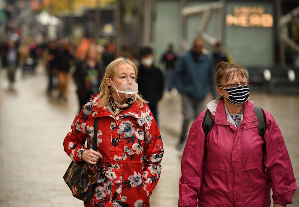 Shoppers wear face coverings in Sheffield (AFP via Getty Images)