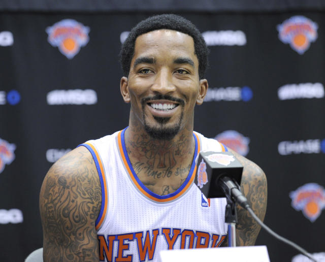 New York Knicks' J.R. Smith talks to the media at the NBA teams media day Monday, Sept. 30, 2013, in Greenburgh, N.Y. (AP Photo/Bill Kostroun)