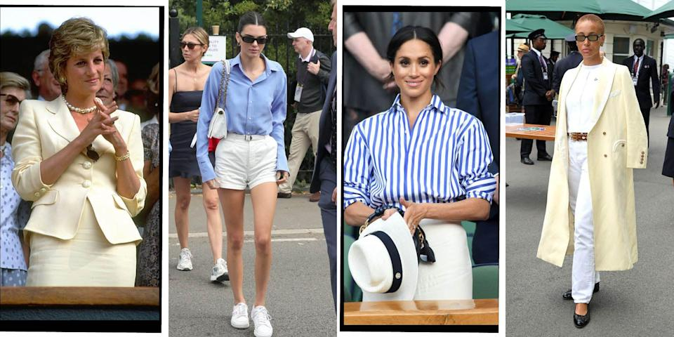 """<p>Last year, for obvious reasons, Wimbledon was cancelled, and, much like <a href=""""https://www.elle.com/uk/fashion/g32931192/glastonbury-fashion/"""" rel=""""nofollow noopener"""" target=""""_blank"""" data-ylk=""""slk:Glastonbury"""" class=""""link rapid-noclick-resp"""">Glastonbury</a>, while some people were missing the show and on-court action, we were more upset about missing all of the spectator fashion. </p><p>Thankfully in 2021 the tennis tournament is back on. That's right, metres from the all-white ensembles of the sporting professionals, sit some of the most stylish celebrities once more, this year including <a href=""""https://www.elle.com/uk/fashion/celebrity-style/g28258118/wimbledon-best-dressed-celebrities/?slide=1"""" rel=""""nofollow noopener"""" target=""""_blank"""" data-ylk=""""slk:Nicola Coughlan"""" class=""""link rapid-noclick-resp"""">Nicola Coughlan</a> in a 1980s-inspired mini dress by Stella McCartney. </p><p>Over the years the British institution has hosted some impeccably-dressed celebrities: from <a href=""""https://www.elle.com/uk/fashion/celebrity-style/g28258118/wimbledon-best-dressed-celebrities/?slide=20"""" rel=""""nofollow noopener"""" target=""""_blank"""" data-ylk=""""slk:Emma Watson in Ralph Lauren in 2018"""" class=""""link rapid-noclick-resp"""">Emma Watson in Ralph Lauren in 2018</a> to <a href=""""https://www.elle.com/uk/fashion/celebrity-style/g28258118/wimbledon-best-dressed-celebrities/?slide=77"""" rel=""""nofollow noopener"""" target=""""_blank"""" data-ylk=""""slk:Princesses Margaret in futuristic sunglasses in 1968"""" class=""""link rapid-noclick-resp"""">Princesses Margaret in futuristic sunglasses in 1968</a>. It must be said Wimbledon fashion proves itself to be the real winner every year. So, without further ado, here are the <strong>89 best Wimbledon fashion moments of all time...</strong></p>"""