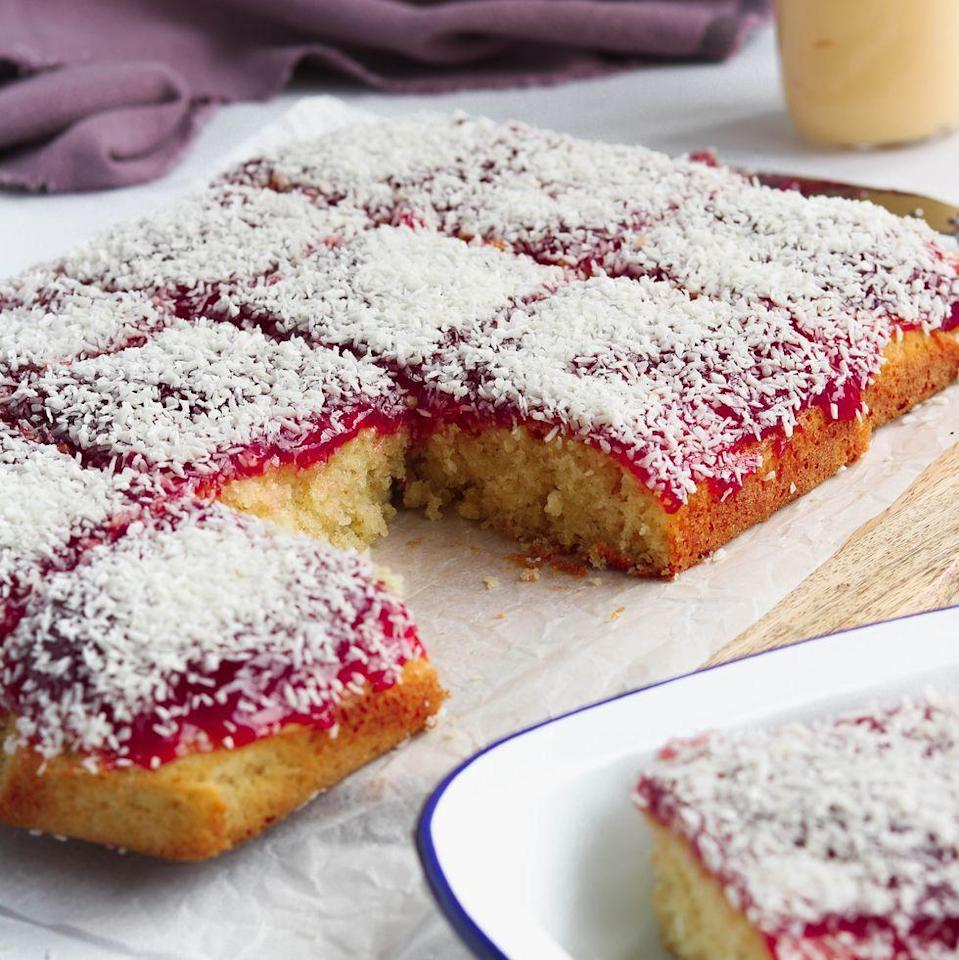 """<p>This jam and coconut <a href=""""https://www.delish.com/uk/cooking/recipes/g33510334/best-sponge-cake-recipes/"""" rel=""""nofollow noopener"""" target=""""_blank"""" data-ylk=""""slk:sponge cake"""" class=""""link rapid-noclick-resp"""">sponge cake</a> is so nostalgic and a reminder of school days - and so simple to make! Feel free to use <a href=""""https://www.delish.com/uk/cooking/recipes/a32485084/strawberry-jam-recipe/"""" rel=""""nofollow noopener"""" target=""""_blank"""" data-ylk=""""slk:strawberry jam"""" class=""""link rapid-noclick-resp"""">strawberry jam</a> instead if you prefer.</p><p>Get the <a href=""""https://www.delish.com/uk/cooking/recipes/a35764575/jam-and-coconut-sponge/"""" rel=""""nofollow noopener"""" target=""""_blank"""" data-ylk=""""slk:Jam & Coconut Sponge"""" class=""""link rapid-noclick-resp"""">Jam & Coconut Sponge</a> recipe. </p>"""