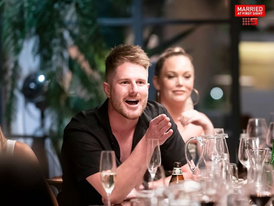 mafs bryce angry scene dinner party as melissa looks on