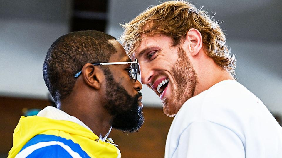 Pictured here, Floyd Mayweather and Logan Paul face off before their Miami fight.