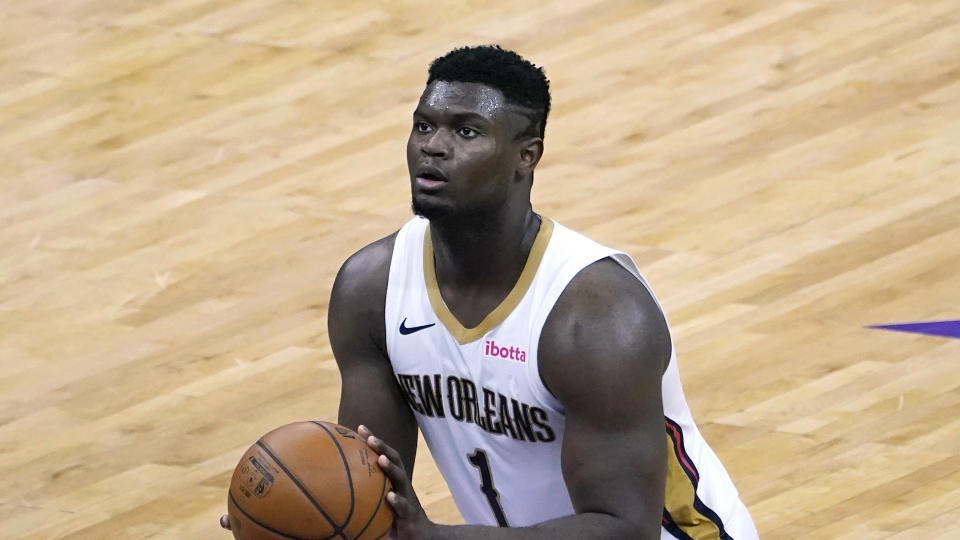 New Orleans Pelicans forward Zion Williamson shoots a free throw during the first quarter of an NBA basketball game against the Sacramento Kings in Sacramento, Calif., Sunday Jan. 17, 2021. The Pelicans won 128-123.(AP Photo/Rich Pedroncelli)