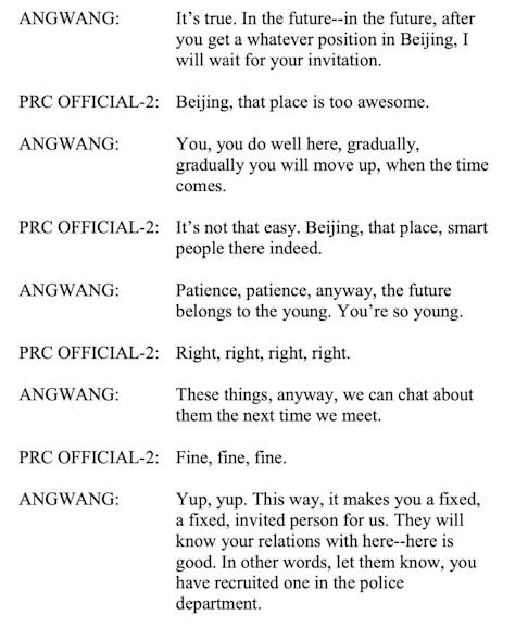 A partial transcript of a recorded phone call between Angwang and a Chinese official, according to the US Attorney's Office for the Eastern District of New York.